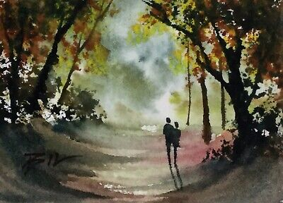ACEO ATC original art miniature painting ' Woodland in Autumn ' by Bill Lupton