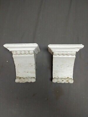 Small Pair Beaded Antique Wood Corbels Shabby Cottage Chic Vintage 14-19R