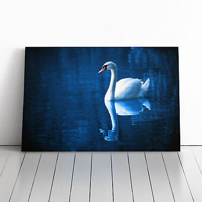 Canvas Wall Art Picture Print White Swan on a Lake (1)