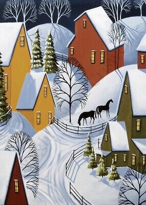 Giclee ACEO print folk art whimsical landscape houses snow village horses winter