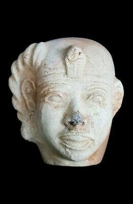 Rare Egyptian Antique Head Statue Figurine Ancient King Faience Amulet AMARNA