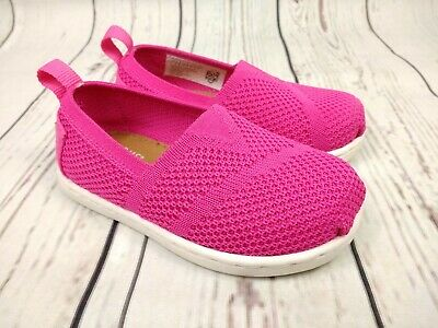 Girls Toddler Tiny TOMS Pink Slip On Knitted Casual Shoes Size UK 4