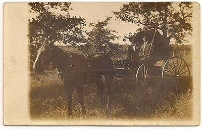 Antique RPPC Horse-Drawn Wagon Buggy Decatur Texas