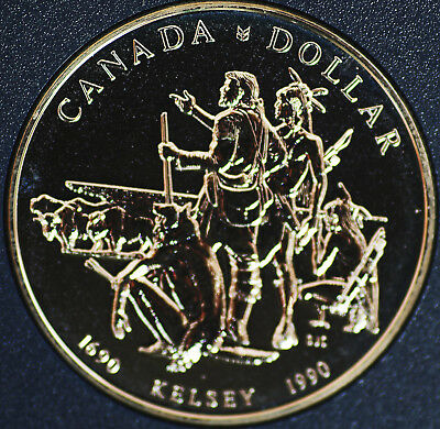 1990 Canada Henry Kelsey exploration 300th anniv BU Silver dollar - coin only