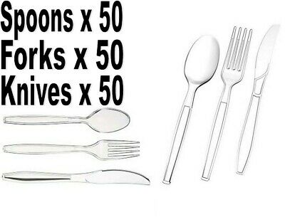 150 Heavy Duty Clear Plastic Spoons│Knives│Forks Disposable Cutlery Free Deliver