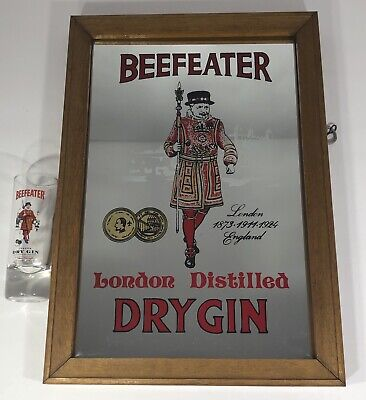 BEEFEATER LONDON DISTILLED DRY GIN MIRROR SIGN  9 x 13 With Matching Shot Glass