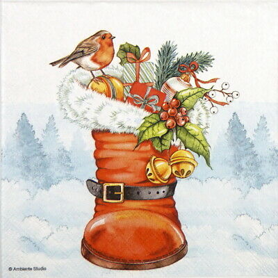 4x Paper Napkins for Decoupage Craft, Party - Christmas Boots