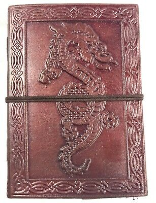 Hand Made Leather Bound Book/Journal Natural Recycled Paper Dragon -12.5 x 9 cm