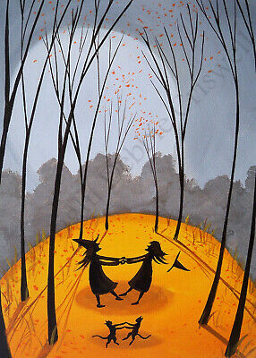 Giclee ACEO folk art Halloween pretty witches merry go round cats dancing woods