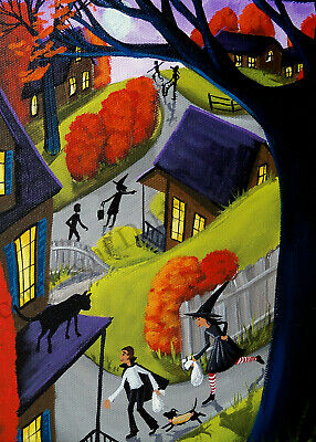 Giclee ACEO folk art Halloween black cat stalker weinner dog dachshund costume