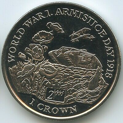 GS1414 - Isle of Man 1 Crown 1999 KM#920 UNC Armistice Day Worl War I.
