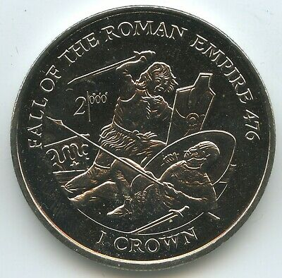 GS1413 - Isle of Man 1 Crown 1997 KM#801 UNC Fall of the Roman Empire 476