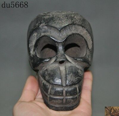 """5"""" Old Chinese Hongshan Culture black old jade hand-carved sun skull head statue"""