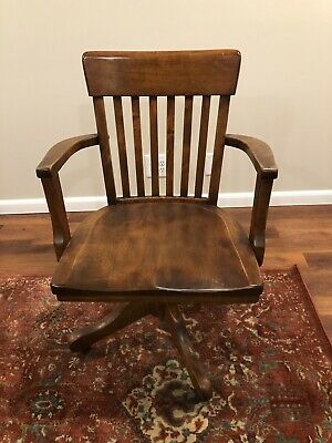 Antique Mahogany Swivel Bankers Chair Made in USA - AMAZING CONDITION