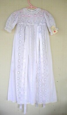 Vintage new Christening gown & hat white all cotton Ali Limhamn made in Sweden