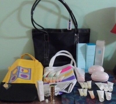 LOT Vintage 36pc Mary Kay Purse Totes Travel Luggage Tapestry Refillable Spray