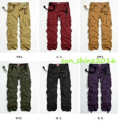 Women's Combat Military Army Green Cargo Pockets Pants Multi-Color  Trousers Hot