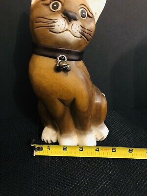 Hand Carved wooden wood sitting cat figurine Brown white Tabby detailed NICE