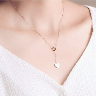 Fashion Heart Choker Pendants Necklaces For Women Jewelry Long Chain Collares