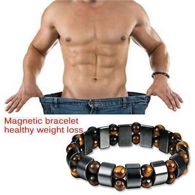 Men Women Black Magnetic Bracelet Hematite Stone Weight Loss Therapy Health Care