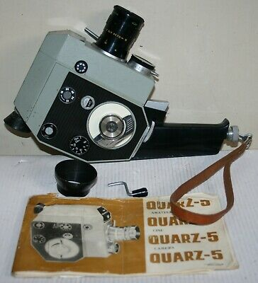 Vintage Russian Quarz 5 - 8mm Cine Film Camera With Pistol Grip Filters & Case