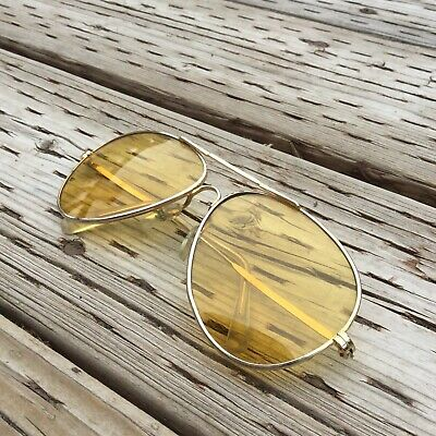 Vintage 1960's Sunglasses Gold Frames Yellow Lenses