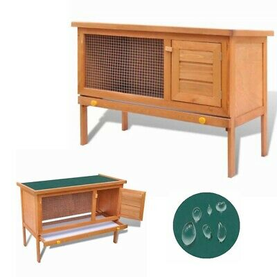 Wooden Rabbit Hutch 36'' Bunny Pet Cage Small Animal House Chicken Hen Coop