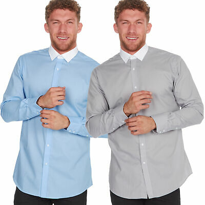 Mens Shirt White Collar Formal Long Sleeve Business Casual Grey Blue Regular Fit
