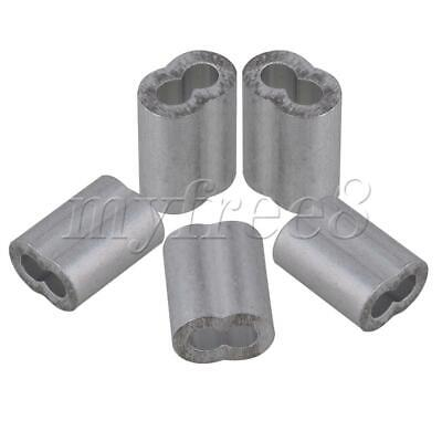 Silver Aluminum M2.5 Double Holes Wire Rope Sleeves Clip 9mm Length Pack of 100