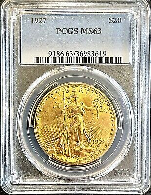 1927 $20 American Gold Eagle Saint Gaudens MS63 PCGS Lustrous Coin In Mint Slab
