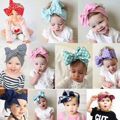 Baby Toddler Girls Kids Cotton Cloth Large Bow Knot Headband Hair Band Headwrap