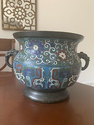 Early Chinese Cloisonne Jardinere Vase Bronze Antique