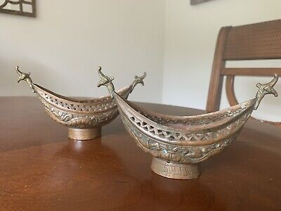 Pair Of 19th Century Antique Persian Beggar Bowls Copper And Brass