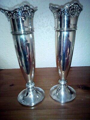 Pair 1935 Solid Silver Vases