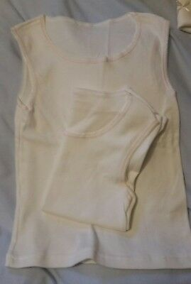 """2 White Pink Trim Sleeveless VESTS Age 8 Chest 24 - 26"""" Length 17""""  Mixed fibre"""