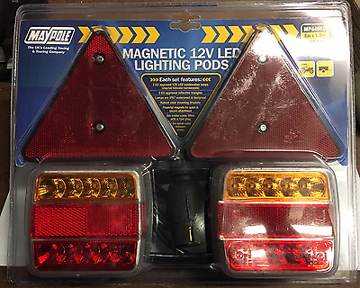 Magnetic Led Lighting Stop Tail Indicator Number Plate Lamp 12V Maypole Mp44952
