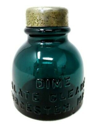 """Collectible Teal Blue Green Glass Bottle - Dime Slate Cleaner - 2-1/2"""" - Antique"""