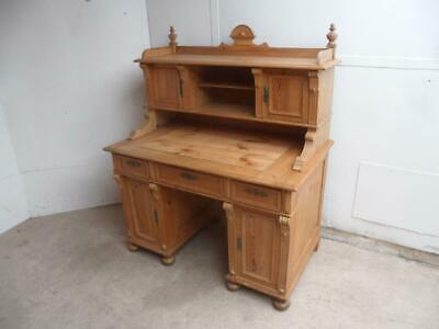 A Rare Antique/Old Pine Waxed Arts & Crafts Sliding Galleried Office Desk
