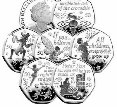 The Peter Pan 50p collection, Flying ,Peter Pan ,Hook ,Wendy & Nana Tinker BUNC