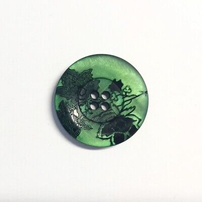 Satin Green Black Floral Flower Italian 4-Hole Sew On Button Fastening 21mm Wide