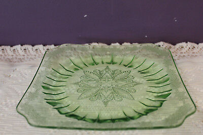 "Vintage Green Depression Glass 7-3/4"" Square Salad Plate Jeanette Adam"