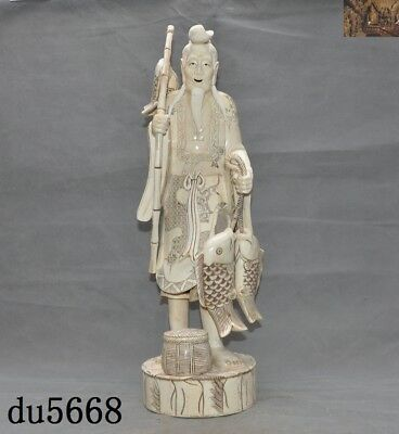 Rare Chinese Cattle bone Hand carved fishing Fisherman catch fish Old man statue