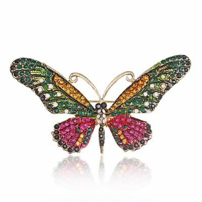 Charm Charm Butterfly Gold Plated Crystal Brooch Pin Womens Costum Jewellery