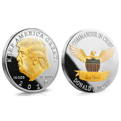 Donald Trump 2020 Challenge Gold&Silver Coin-- KEEP AMERICA GREAT Metal