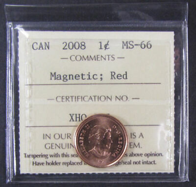 2008 Magnetic  Canada 1 Cent  ICCS graded MS-66; RED (small cent or penny)