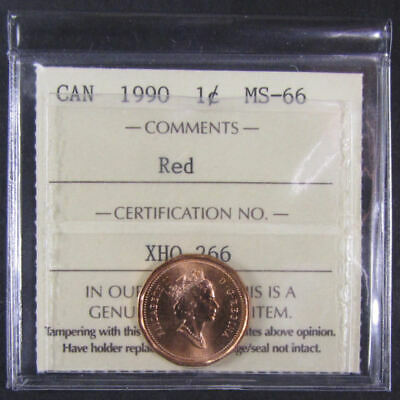 1990  Canada 1 Cent  ICCS graded MS-66; RED (small cent or penny)