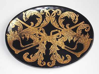 Piero Fornasetti, Black/Gold Silk-Screen Oval Dish With Gilt Pipes And Tobacco
