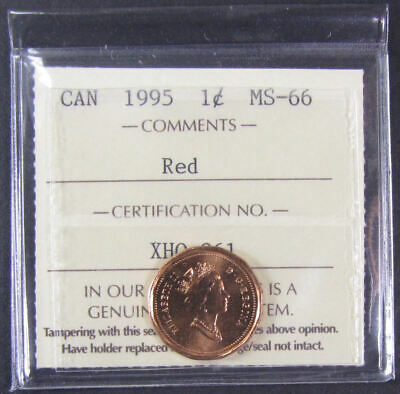 1995   Canada 1 Cent  ICCS graded MS-66; RED (small cent or penny)
