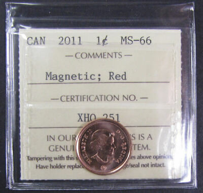 2011 Magnetic  Canada 1 Cent  ICCS graded MS-66; RED (small cent or penny)