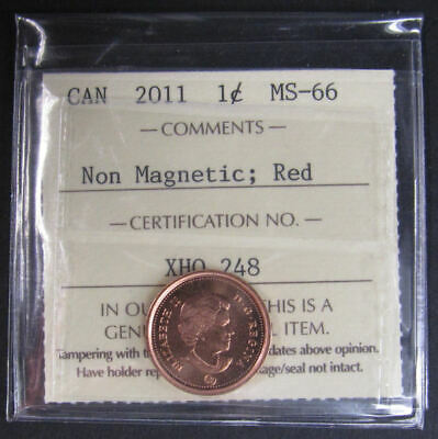 2011 Non-Magnetic  Canada 1 Cent  ICCS graded MS-66; RED (small cent or penny)